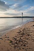 Friedrichsort lighthouse at dusk, Kiel Fjord, Baltic sea, Friedrichsort, Kiel, Schleswig-Holstein, Germany