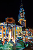 Festival of Lights Kiel, Kiel town hall, Kiel Theater, Kiel, Schleswig-Holstein, Germany