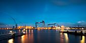 Howaldtswerke-Deutsche Werft at night, Kiel Fjord, Baltic Sea, Kiel, Schleswig-Holstein, Germany
