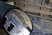 Tile murals with reflection, Museu Militar, Alfama, Lisbon, Portugal