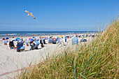 Beach chairs on Weststrand beach, Norderney, Ostfriesland, Lower Saxony, Germany