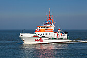 Lifeboat at the harbour entrance, Norderney, Ostfriesland, Lower Saxony, Germany
