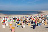 Beach chairs on the beach, Borkum, Ostfriesland, Lower Saxony, Germany