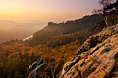 View to Elbe river and Schrammsteine, National Park Saxon Switzerland, Elbe Sandstone Mountains, Saxony, Germany