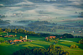 View from Hochries to Samerberg with Steinkirchen, Hochries, Chiemgauer Alps, Chiemgau, Upper Bavaria, Bavaria, Germany