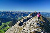 Woman hiking on ridge with Grossvenediger in the background, Nurracher Hoehenweg, Ulrichshorn, Loferer Steinberge range, Tyrol, Austria