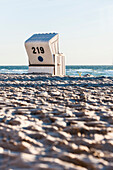 Roofed wicker beach chair, Kampen, Sylt, Schleswig-Holstein, Germany