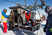 Skiers at top station, free ride skiing area Haldigrat, Niederrickenbach, Oberdorf, Canton of Nidwalden, Switzerland