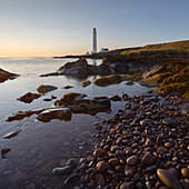 Scurdie Ness lighthouse in the evening light, Montrose, Angus, South Esk, North Sea, Scotland, United Kingdom
