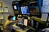 Communication center with operator, McMurdo Station, Ross Island, Antarctica