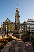 Statue of Robert Burns in front of Dunedin Town Hall in The Octagon, Dunedin, Otago, South Island, New Zealand