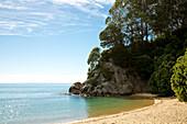 Strand Kaiteriteri Beach an der Sandy Bay im Abel Tasman Nationalpark an einem sonnigen Tag, Kaiteriteri, Tasman Region, Südinsel, Neuseeland