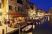 Al Timon Restaurant on Fondamenta Ormesini, summer evening, Cannaregio, Venice, Italy