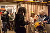 guests in costumes, dressing for a carnival ball, Palazzo Zeno ai Frari, piano nobile, noble floor, private masked ball, Venice, Italy