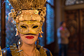 carnival, masked woman in extravagant costume, Tanja Schulz-Hess from Hamburg, Palazzo Zeno ai Frari, piano nobile, noble floor, private masked ball, Venice, Italy