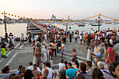 Festa del Redentore, Redentore Feast Day, thanks that the plague ended, pontoon bridge built across Giudecca Canal annually, sunset, 3rd Sunday of July, Venice, Italy