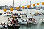 Festa del Redentore, Redentore Feast Day, thanks that the plague ended, pontoon bridge built across Giudecca Canal annually, sunset, 3rd Sunday of July, boats, party, lanterns, Venice, Italy