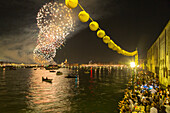 Festa del Redentore, Redentore Feast Day, thanks that the plague ended, pontoon bridge built across Giudecca Canal annually, sunset, 3rd Sunday of July, boats, party, lanterns, firework display, Venice, Italy