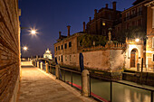 Rio dela Fornace, Zattere, high walls, gardens, fondamenta, pavement along canal, night time, lights, railing, canal, empty, still, Venice, Italy