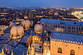 Night shot from campanile above the domes of Baslica San Marco, St Mark's, Venice, Italy