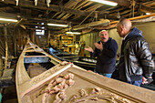 Roberto Tramontin, traditional gondola boat builder, timber ribs, construction, decorative carving, Venice, Veneto, Italy