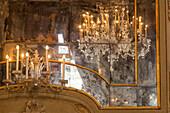 old Murano glass mirror, chandelier, Glass Museum, Murano Island, Venice, Italy