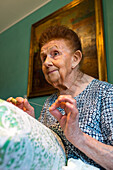 Emma Vidal, 98 years old teacher and maker of fine Burano lace, embroidery, hancraft, traditional, Island of Burano, Venice, Italy