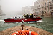 Central Fire Department, Rio di Ca' Foscari, fire department boat, exercise, Caserma dei vigili del Fuoco, lagoon, fog, canal, Venice, Italy