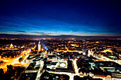 View from the University tower, City-Hochhaus over Leipzig at night, Leipzig, Saxony, Germany