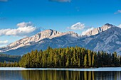 The picturesque Lake Beauvert with the Canadian Rocky Mountains in the background, Jasper National Park, Alberta, Canada