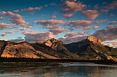 Sunrise over the Canadian Rocky Mountains in the Jasper National Park, Alberta, Canada