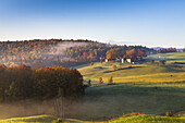 Fields of the Jenne Farm in the early morning, Vermont, USA