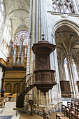 Pulpit and organ in the impressive Saint Gatien´s Cathedral in Tours, Indre-et-Loire, France, Europe