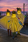 Three masked women at the carnival in Venice, Italy, Europe