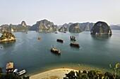 Vietnam, Ha Long bay a World heritage site of UNESCO, karstic rocks at Ti Top site.