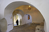 Greece, Chalkidiki, Mount Athos peninsula, listed as World Heritage, Simonos Petra monastery, Mediaeval vaulted passageway.