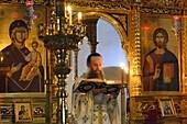 Greece, Chalkidiki, Mount Athos peninsula, listed as World Heritage, Simonos Petra monastery, Matins worship.