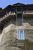 Greece, Thessaly, Meteora, World Heritage Site, Agios Nikolaos Anapafsas (St Nicholas Anapausas) monastery, Elevator.