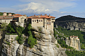 Greece, Thessaly, Meteora, World Heritage Site, Varlaam monastery and Roussanou (Agia Barbara) nunnery.