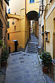 Quiet Alleyway in Vernazza Cinque Terre Liguria Italy.