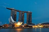 ArtScience Museum and Marina Bay Sands Hotel at night, Singapore.