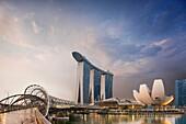 Helix Bridge and Marina Bay Sands Hotel, Singapore.