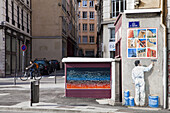 France, Rhone, Lyon, historical site listed as World Heritage by UNESCO, The Fresco of the People of Lyon was carried out by the City of Creation in 1994/95 at the corner of the quay St Vincent and the street of la Martiniere.