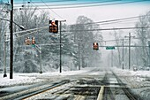 Roads covered with snow, New Jersey, USA.