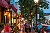 Busy shops along King Street in Old Town Alexandria, Virginia, USA.