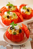 Stuffed tomatoes with millet.