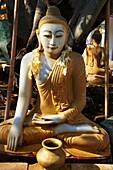 Myanmar (Burma), Mandalay, marble Buddha at Paya Shwekyimyint.