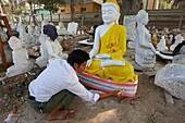 Myanmar (Burma), Mandalay, Marble carving work.