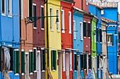 Colorful Buildings and Facades, Burano Island, Venice, Italy.