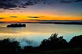 Church Island, Sunset, Lough Owel, County Westmeath, Ireland.